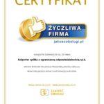 """Kolporter z certyfikatem """"Życzliwa Firma"""""""